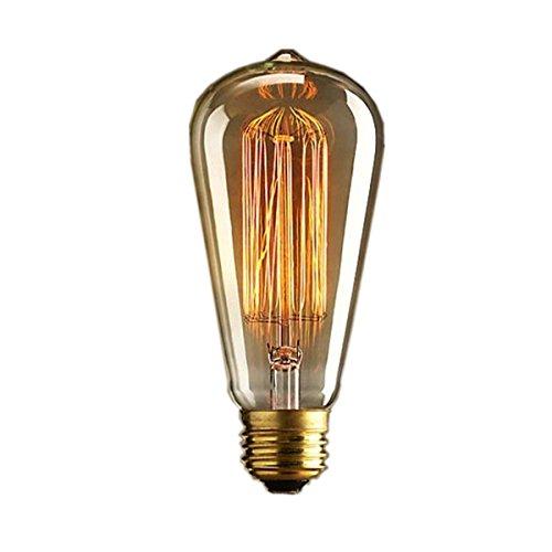 hilai Vintage Glühbirne RETRO altmodisch Edison Stil E27Schraube ST64Glühlampe 19Anker 40W 220V–Eichhörnchen Käfig Tungsten Filament Glas Antik-Lampe