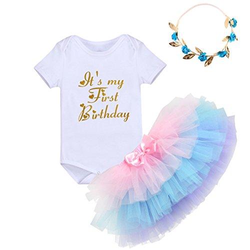 Baby Mädchen 1. Geburtstag Outfits Einhorn Geburtstag Kostüm für Fotografie Kleinkinder Prinzessin Strampler Body Regenbogen Tütü Rock Blumenstirnband/Einhorn Stirnband 3tlg Bekleidungssets ()
