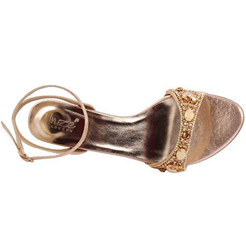 Unze Le nuove donne signore PRISMATICA scintillanti pietre Mid High Heel sera del partito di formato di promenade di nozze Slingback sandali scarpe UK 3-8 Oro