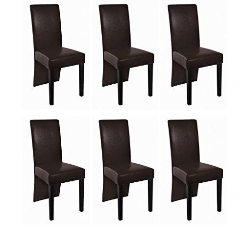 Esszimmerstühle Esszimmersessel (6er Set) lange Lehne braun, dunkelbraunes Kunstleder