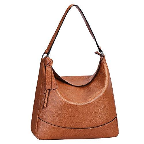 Hobo-khaki (S-ZONE Damen Echtleder Handtasche Hobo Bag Medium Tote Schultertasche Messenger Tasche)