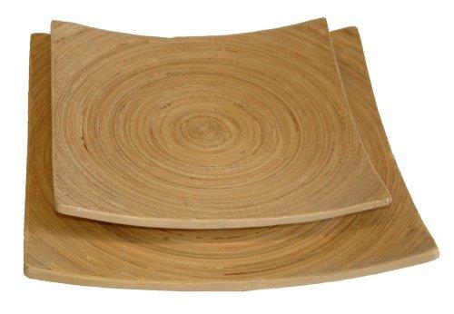 T&G Woodware T & G en bambou Lot de moyenne et grande plateaux carré