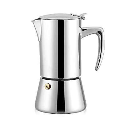 200ml Stainless Steel Moka Pot Espresso Coffee Maker for Gas & Electric Stovetop