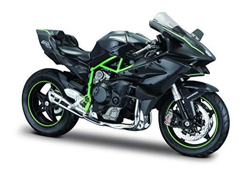 Maisto Kawasaki Ninja H2R: Originalgetreues Motorradmodell, Maßstab 1:12, mit Federung und ausklappbarem Seitenständer, 17 cm, schwarz (5-16880) -