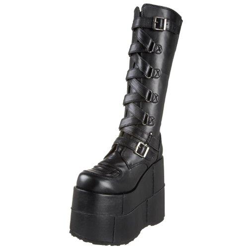 Demonia Goth Punk Gogo Cyber Stiefel Stack-308 Mattschwarz
