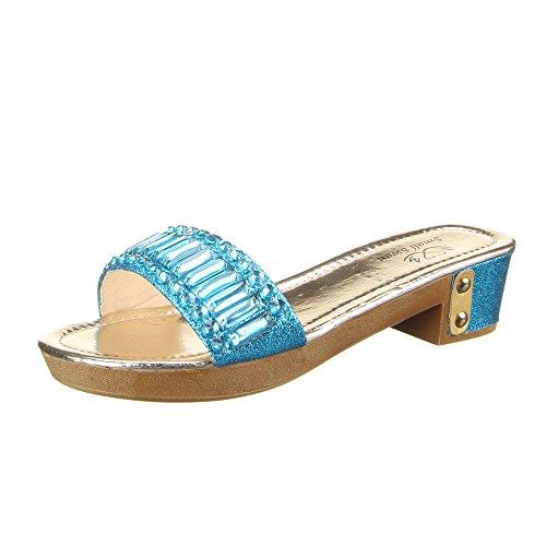 Damen Schuhe, KF168-21U, SANDALEN Blau  [B00ZAJMT28]