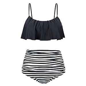Angerella Donne Sveglie Ruffle Strap Costume da Bagno Bassiera Balza Bikini