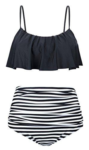 EasyMy Vintage Niedlich Badeanzug Crop Top Flounce Schwarz Weiß Gestreift Bottom Bikini Set