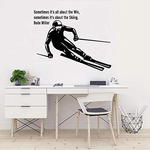 Ski kunst aufkleber ski sport vinyl wandaufkleber kinderzimmer skisprung freestyle wohnkultur kindergarten schlafzimmer dekoration 57X72 CM (Freestyle-ski-poster)