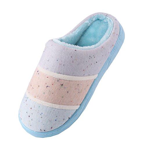 coton tricoté pantoufles à domicile-Unisexe hiver chaud peluche chaussures bootie Bleu