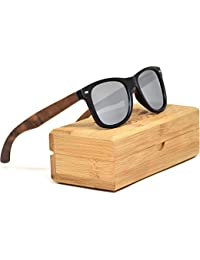 a155c5c3c3831 Walnut Wooden Mens and Womens Sunglasses with Matte Black Front and  Polarised Lenses