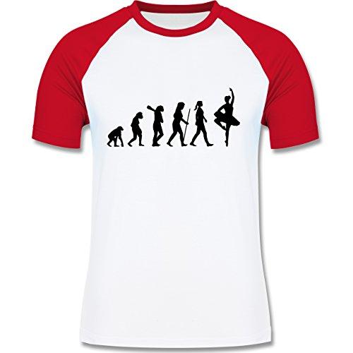 Evolution - Ballett Evolution - zweifarbiges Baseballshirt für Männer Weiß/Rot