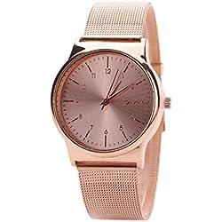 Reloj ♥♥Longra Reloj clásico del SteWrist del cuarzo de las mujeres de la manera (Oro rosa)