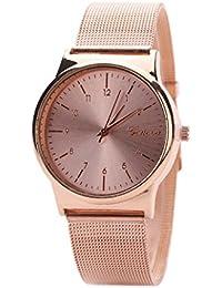 Reloj ♥♥de modaLongra Reloj clásico del SteWrist del cuarzo de las mujeres de la manera (Oro rosa)