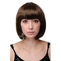 WIG ME UP ® - Peluca corta de pelo bob color marrón fiesta disco GO GO