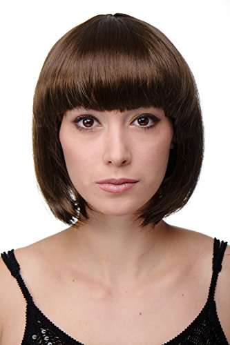 WIG ME UP ® - Peluca corta de pelo bob color marrón fiesta disco GO GO Girl PW0114-P6