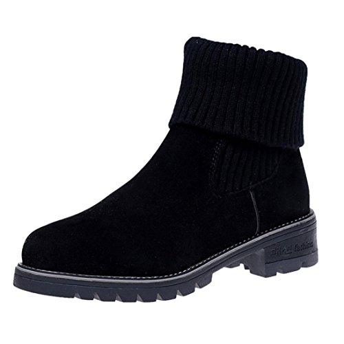 Chelsea Boots,DOLDOA Damen Gestrickte Nähen Kunstleder Gefüttert Niedriger Blockabsatz Stiefel (EU:38, Schwarz,Gefüttert Niedriger Blockabsatz Stiefel) (Boot Slouchy Wildleder)