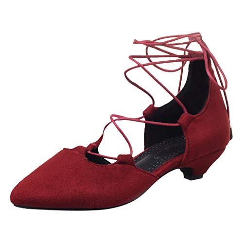 B-commerce Damenschuhe Wildleder Pointed Toe Tanzschuhe Große Knöchelriemen Schnürschuhe Sommersandalen (Mens Größe 13 Stiefel Winter)