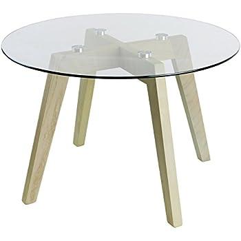 Hartleys Limed Oak Base Round Glass Coffee Table Amazon.uk
