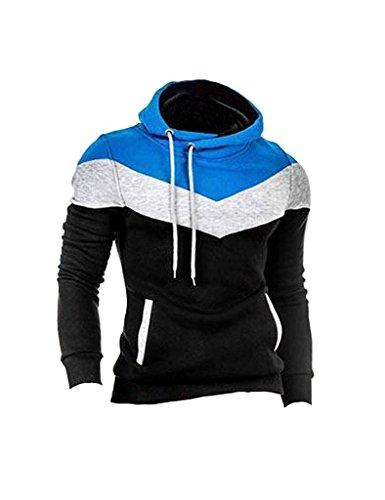 Minetom Uomo Autunno Inverno Contrasto di Colore Con Cappuccio Maglione Moda Slim Fit Felpa Sport Hoodies Nero IT 38
