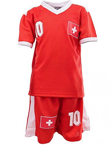 24brands - Jungen Fußball Set 2 Teilig Trainings Trikot Deutschland Italien Brasilien Spanien Türkei Schweiz Ländertrikot - 2630, Größe:116-122;Farbe:Schweiz