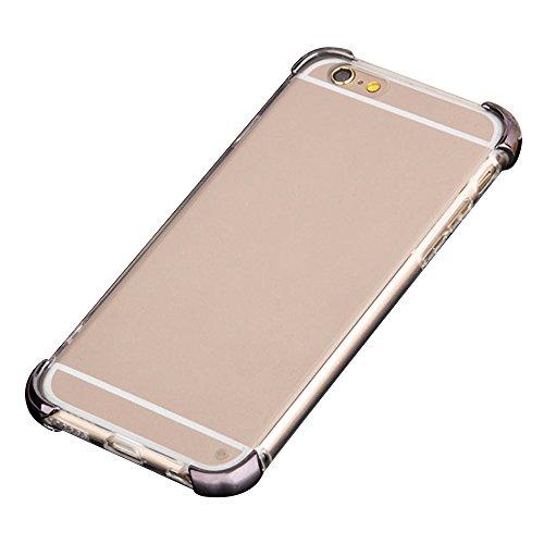Cuitan 2 in 1 Electroplate Hülle Schutzhülle für Apple iPhone 6 / 6s (4,7 Zoll), TPU Weich Innen Hülle und PC Harte Corners Transparent Durchsichtig Rück Abdeckung Back Cover Case Handytasche Rückseit Grau