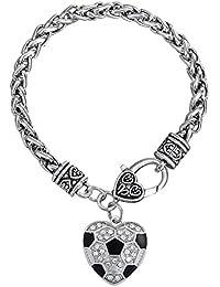 en émail noir cristal blanc pierre en forme de cœur Ballon de foot Bracelet Sports Bijoux