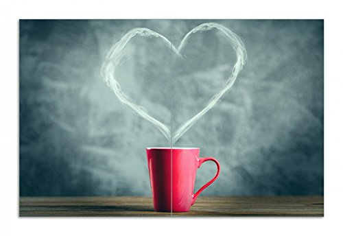 Wallario Herdabdeckplatte/Spritzschutz aus Glas, 2-teilig, 80x52cm, für Ceran- und Induktionsherde, Motiv Tasse mit Kaffee - herzförmiger Dampf (Grau-holz-kaffee-tisch)