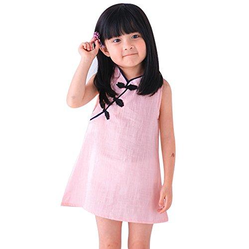 Dchen Chinesisches Qipao Kleid Sommer Prinzessin Kleid ÄRmellos A Line Kinder Baby Party Hochzeit(Rosa,130) ()