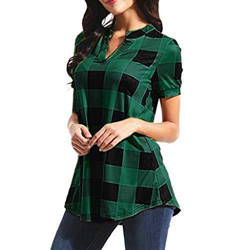 VJGOAL Damen T-Shirt, Bluse Damen Elegant Casual Plaid gedruckt Kurze Ärmel V-Kragen Irregulär Hem Bluse T-Shirt Tops(Grün,36)