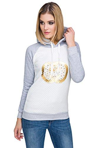 FUTURO FASHION Chaud Pour Femmes matelasséà Capuche Sweatshirt Manches Longues avec Imprimé Or FZ98 Blanc/cendré