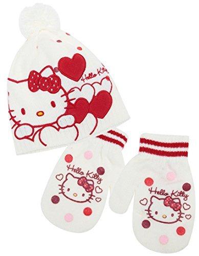 4162c7eba9e7 Bonnet et moufles bébé fille Hello kitty Rose et Ecru de 9 à 36 mois (