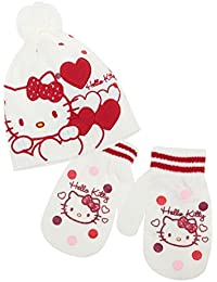 Gorro, manoplas para bebé, diseño de Hello kitty, color rosa y beige de 9 a 36 meses.