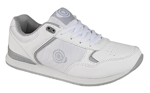Dek Babyschuhe Womens Damen Schnüren Bis Bowling Schuhe/Ausbilder Weiß/grau UK 6