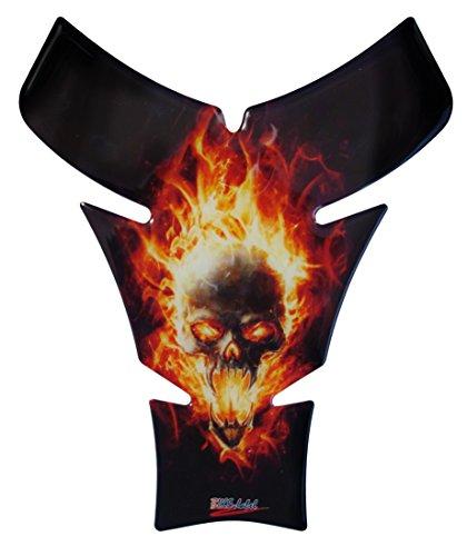 Flamme Pak (Tankpad 3D - Flame Spirit Totenkopf-Motiv / Flammen / Skull - 500458 - universell für Yamaha, Honda, Ducati, Suzuki, Kawasaki, KTM, BMW, Triumph und Aprilia Tanks)