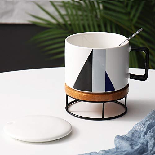 Becher Kaffeetassen Tassen Tasse Keramik Große Kapazität Nordischen Becher Büro Kaffeetasse Einfache Müsli Frühstück Tasse, Schwarz Grau Blau + Untersetzer