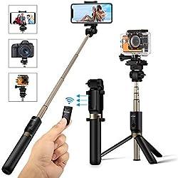 Perche Selfie Trépied avec Télécommande, BlitzWolf 4 en 1 Bâton Selfie bluetooth Monopode Extensible pour Caméra Gopro iPhone X / 8 / 7 / 7 Plus/ 6s/6/5s, Samsung, Android et autre 3.5-6 Smartphones