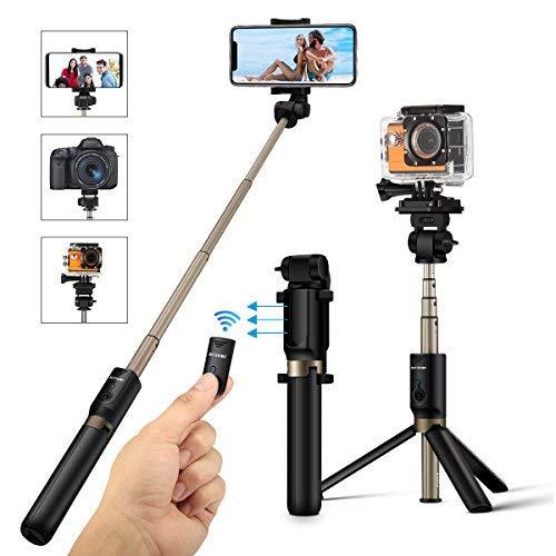 Selfie stick treppiede, blitzwolf 4 in 1 bastone selfie regolabile con bluetooth per gopro, fotocamera, iphone android, samsung, smartphone 3,5-6 pollici, mini wireless asta selfie monopiede