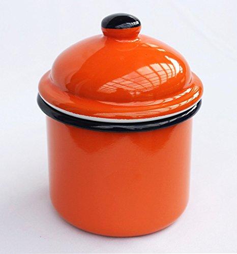 DanDiBo Aufbewahrungsdose 501Z Orange Dose 15 cm emailliert Vintage Landhaus Mehlbüchse