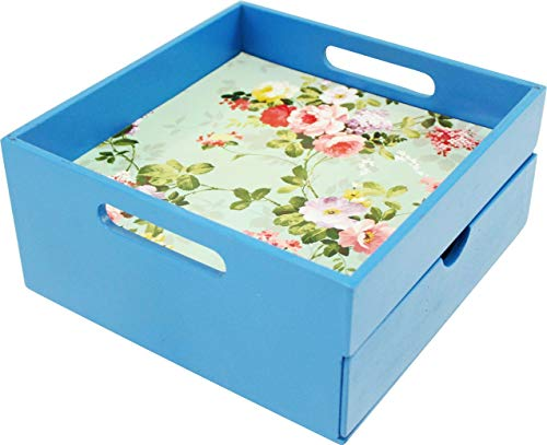 Wooden Tray with Drawer |Kitchen Use or Home Décor |8.25 x 4 x 8.25 Inches| Vintage Flower Print | Color (Blue)