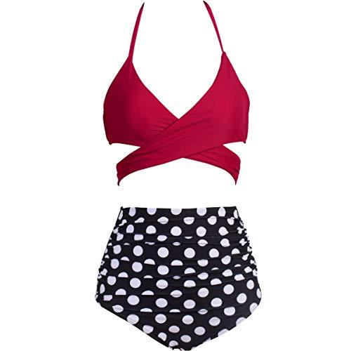 Eomenie Bikini Damen Set Retro Zweiteilige Badeanzug Bauchweg Damen Neckholder Punkt Blau Strandkleidung Triangel Oberteil Bandeau Strandmode -
