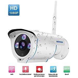 camaras de seguridad hogar: Cámaras de Vigilancia Wifi,2 Vías de audio,SZSINOCAM 1080P P2P IP66 movimiento d...