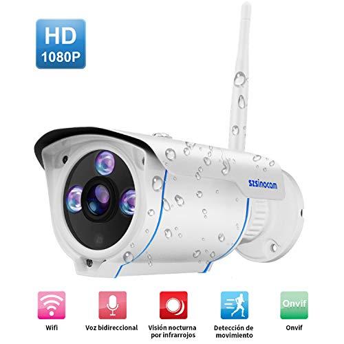 Cámaras de Vigilancia Wifi,2 Vías de audio,SZSINOCAM 1080P P2P IP66 movimiento de alarma IP CCTV Camara Seguridad Interior/Exterior IP camera Wifi con visión nocturna,para el Hogar Bebe,iOS/Android