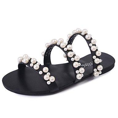 Zhenfu Femmes Sandales Comfort Pu Printemps Été Occasionnel Marche Slouch Bottes Perle Talon Plat Noir Gris Plat Noir
