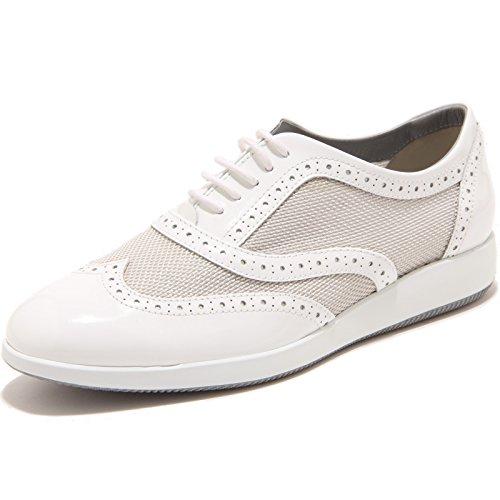 89834 francesina HOGAN H209 DRESS XL BUCATURE scarpa donna shoes women Argento/Bianco