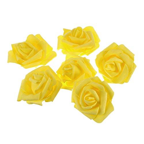 he Schaumstoff-Rosen Blumen für Zuhause Hochzeit Dekoration (gelb) ()