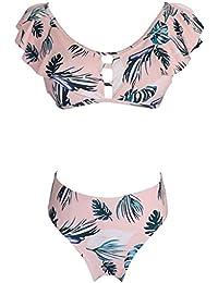 c5c53d67c10d40 LoveLeiter Bademode Zweiteilige Strandkleidung Badeanzug mit Volant  Neckholder Bikini Oberteil Frauen Siamese Bikini Set Push Up