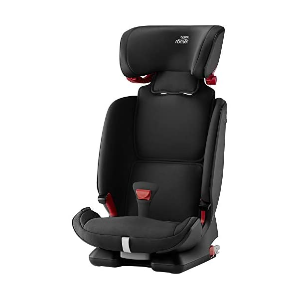 Britax Römer car seat 9-36 kg, ADVANSAFIX IV M Isofix group 1/2/3, Cosmos Black Britax Römer Our patented pivot link isofix system directs the force first downward into the vehicle seat, and then forward more gently - greatly reducing the risk of head and neck injury for your child We believe that a 5-point harness is the safest way to secure your child in a car seat because it keeps your child safe and tight in the seat's protective shell Soft neoprene performance chest pads fit comfortably on your child's chest. They help reduce your child's movement in the event of a collision, and add even greater comfort to the 5-point harness 3