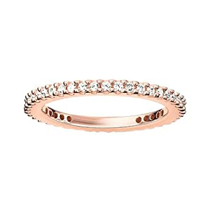 Thomas Sabo Women Eternity Ring pavé Ring 925 Sterling Silver; 18k Rose Gold Plating TR1980-416-14