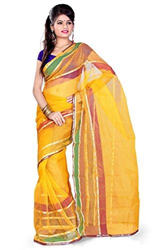 Araham Yellow Light Weight Faux Tissue Saree Sari with Blouse